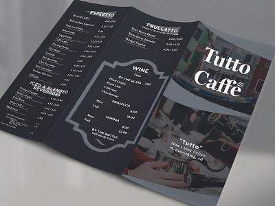 Tutto Caffe Tri Fold Menu branding menu design