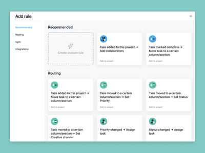 Automation Rules in Asana design ux ui saas project management product launch feature automation asana