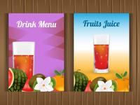 Set of drinks or fruits menu brochure flyer for restaurant/cafe
