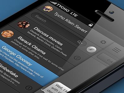 Messenger messenger ios app iphone ui user interface dark ui