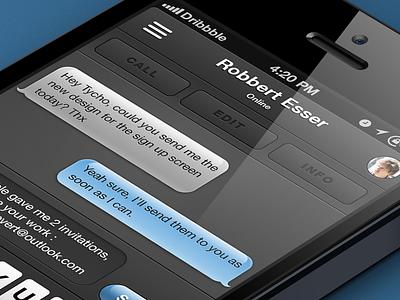 Messenger keyboard app ui ios iphone messenger invite dark ui user interface
