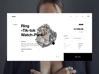 DRYAN PROJECT – Product Page minimal clean website web ux ui helvetica typography catalog product page pre-order new interface grid e-commerce fashion design collection jewerly ring