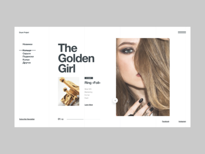 Dryan project (and day #007 of typography) webdesign interface gold black helvetica concept magazine grid fashion e-commerce design brand ux typography design web interaction clean typography minimal ui