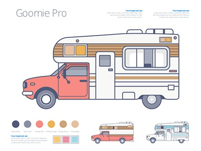 Goomie Pro car auto camping red goomie andy pastel illustration truck goodie pro