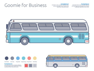 Goomie Business bus vintage cometa illustration goomie palette minimalist colorful pastel