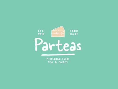 Parteas cafe party tea identity logo
