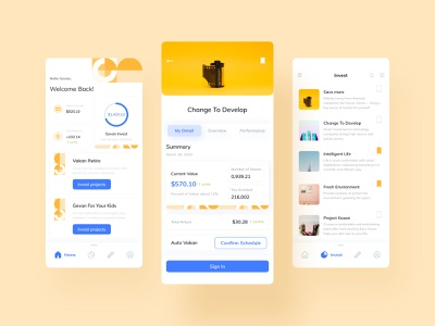 Invest finance Mobile Ui money summary card chart design kit ui mobile app finance invest