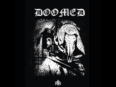 Doomed deathmetal blackmetal metal music album music bandmerch band merch design merch clothing design band merch skull shirtdesign vector merchandise illustration drawing design artwork art