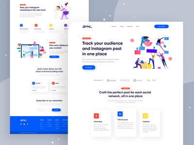Instagram Marketing Tools- SAAS Landing Page Design saas marketing design flat illustration web ui saas design website design webdesign saas website saas landing page landingpage user experience landing page design website web design clean user interface uiux ui landing page