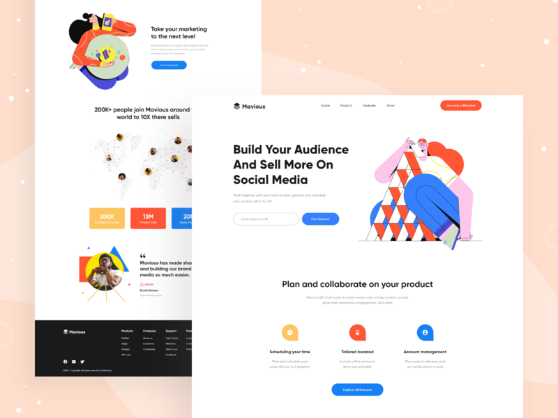 SAAS Landing Page Design webdesign design saas website web desgin website design illustraion trendy clean saas landing page landing page design landingpage website flat user experience web design user interface ui uiux landing page