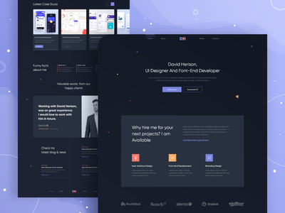 Portfolio - Homepage Design minimal website design dark ui portfolio page portfolio portfolio site portfolio design webdesign design ui clean landingpage landing page design user experience website web design uiux user interface landing page