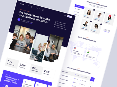 Booster About us / Company Page - WF Template blue clean new web design company website business website rudra ghosh webflow template website template webflow inner pages company about us design landingpage website web design landing page