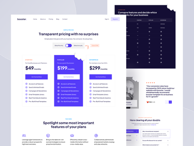 Pricing Page - Booster Webflow Template user experience user interface uiux trending pricing page design blue website design clean design webflow template pricing page pricing design landingpage website web design landing page
