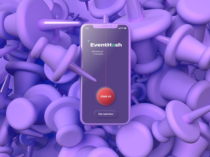 EventHash violet pin design cinema4d application ui neumorphism