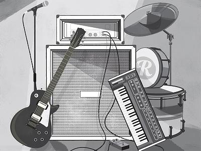 She Shreds Magazine Ad black and white guitar cymbal keyboard microphone pedal shred magazine advertisement