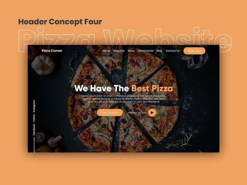 Pizza Website | Header Concept Four figma adobexd adobe creative visual design pizza landingpage websitedesign website uxdesign uiuxdesign uidesign uiux design