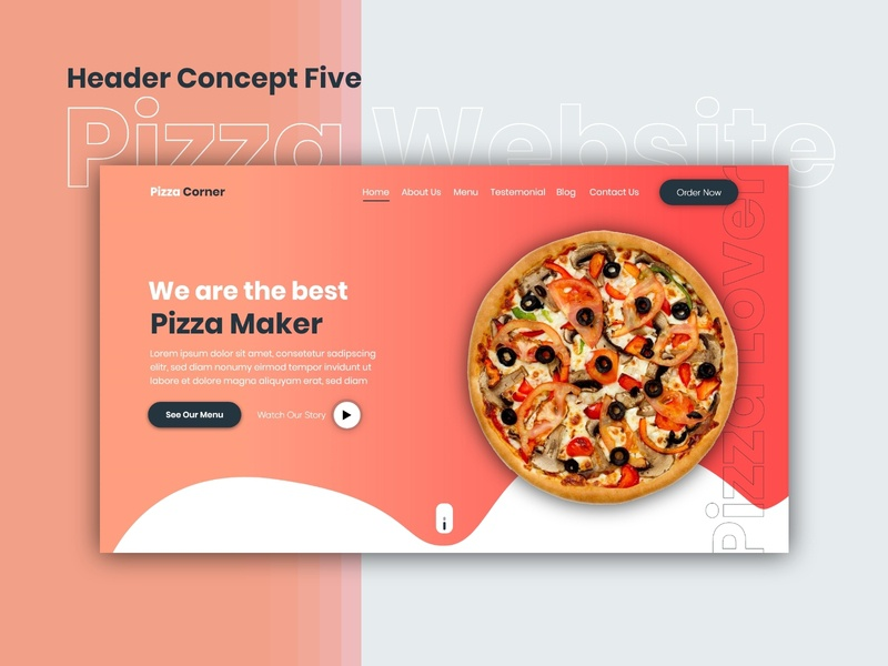 Pizza Website   Header Concept Five visualdesign creative adobexd adobe landingpage pizzawebsite pizza websitedesign website uxdesign uidesign uiuxdesign uiux design