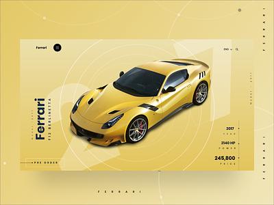 Ferrari F12 Berlinetta - Website Design drive vehicle supercar f12 automobile auto ferrariberlinetta ferrari f12 ferrari sportscars cars clean minimal landing page design website webdesign ux ui