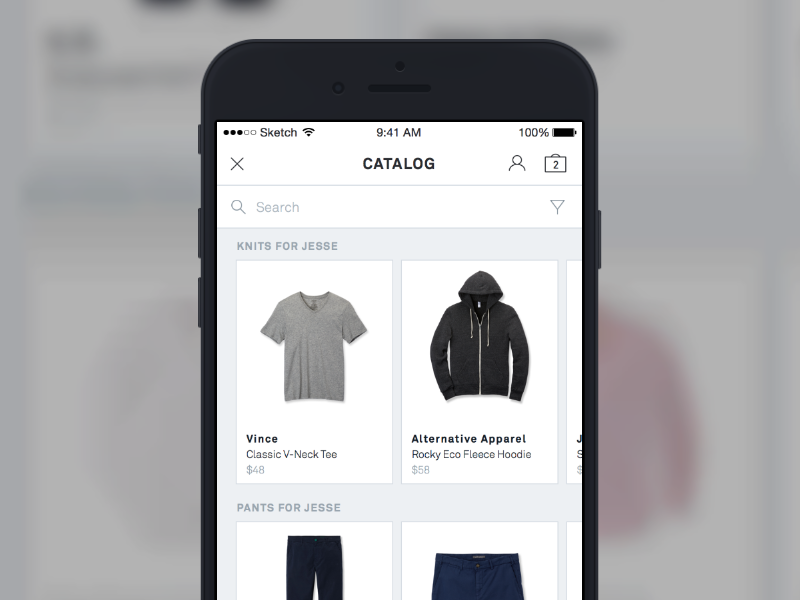 Expert Shopper iOS Experience clothing ui cards shopping ecommerce recommendations ios made with invision