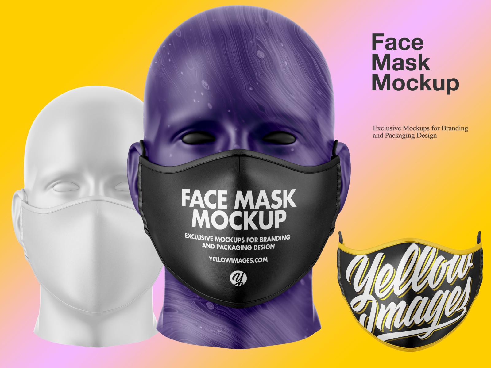 Download Face Mask Mockup By Oleksandr Hlubokyi On Dribbble PSD Mockup Templates