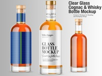 Glass Cognac & Whisky Bottle Mockups