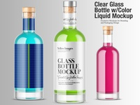 Clear Glass Bottle Mockup w/ color Liquid