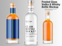 Frosted Glass Vodka & Whisky Bottle Mockups