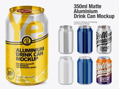 350ml Glossy Aluminium Drink Can Mockup