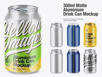 350ml Matte Aluminium Drink Can Mockup
