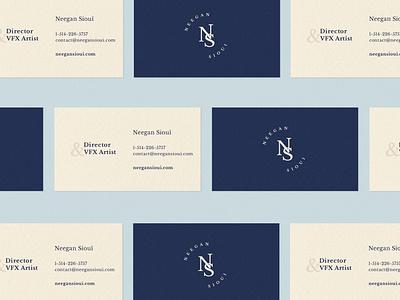 Neegan Sioui - Business Card print design business card design inspiration brand development minimal brand design minimal logo business card navy blue brand identity logo branding