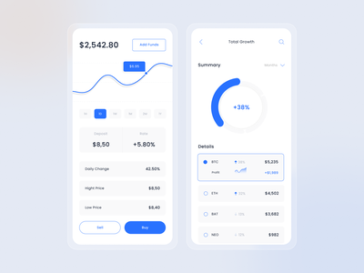 Ngetrade App blue statistics fintech bitcoin trading clean figma typography dashboad app design minimal icon ui design