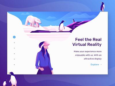 Landing Page Virtual Reality virtual reality landing page illustration ui minimal design