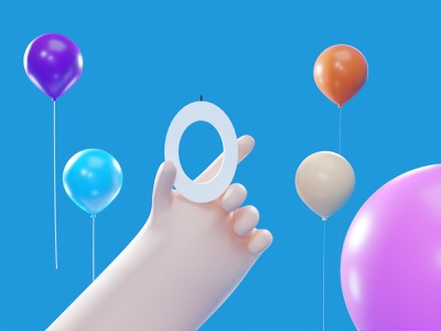 Not Birthday Yet party hand balloon candle birthday blender minimalism 3d