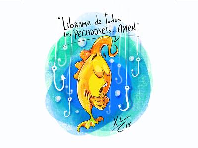 Querido Dios / Dear God procreate funny character funny pray fish character illustration cartoon character cartoons