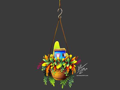 Plantarse y crecer digital illustration procreate illustration lifestyle caribbean nature casitas dominicanas