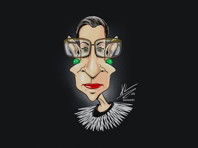 Ruth Bader Ginsburg drawing procreate digital illustration cartoonist illustration vote rbg caricature