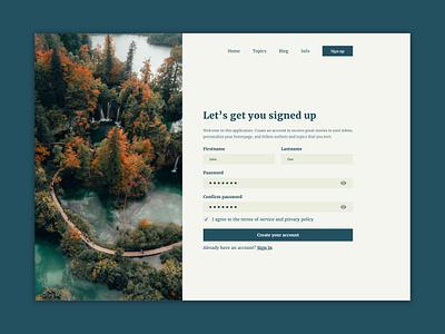 Sign Up webdesign webpage 001 signup form signup inputfields input form design ui ux challenge dailyui