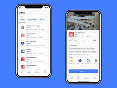 Job listing dailyuichallenge mobile layout filter jobs interface uiux challenge app design dailyui ux ui