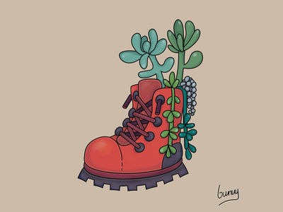 Succulent Boot Art flower art flower logo red color cartoon design cartoon art digital art draw draw this in your style clip studio paint adobe photoshop photoshop adobe ilustrator icon logo vector design illustration art succulent
