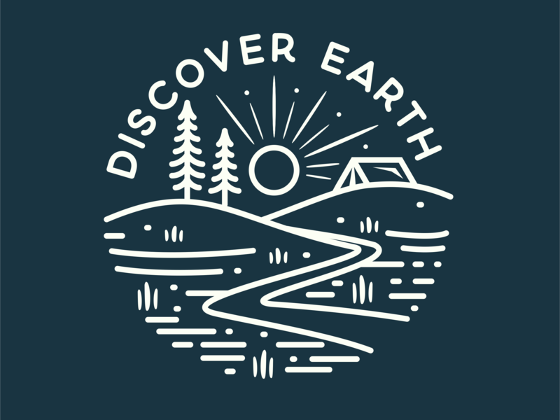 camp life lake type discovery shirt design nature flat tree star shirtdesign shirt mountain minimal logo illustration discover design camp branding adventure