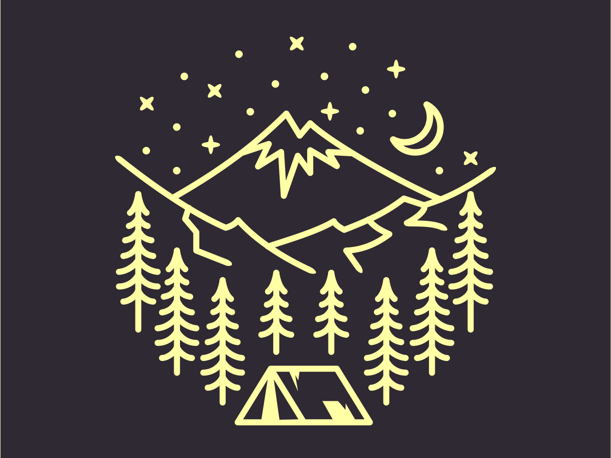 under the star earth type discovering explore discovery tree star shirt design shirtdesign shirt mountain logo illustration flat nature discover design camp branding adventure