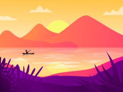Landscape Sea sunset