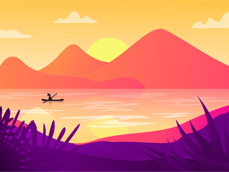 Landscape Sea sunset sunset sea camp vector discovery nature mountain illustration flat discover design adventure