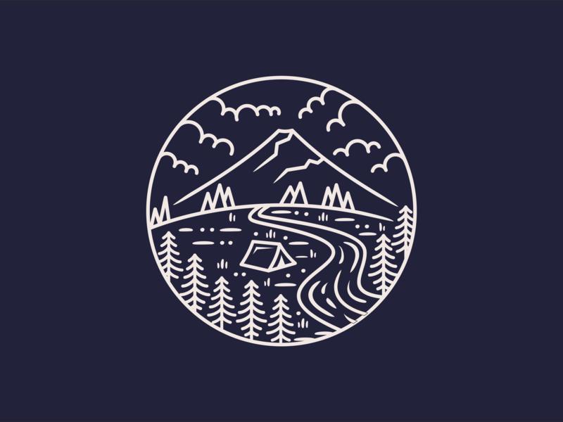 Camp Mountain vector lake shirt design earth future branding shirtdesign logo explore discovering shirt tree discovery nature mountain illustration discover design camp adventure