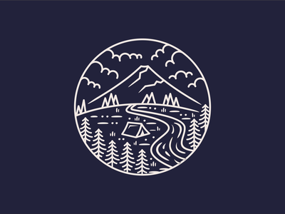 Camp Mountain vector lake shirt design earth future branding shirtdesign logo explore discovering shirt tree discovery nature mountain illustration discover design camp adventure