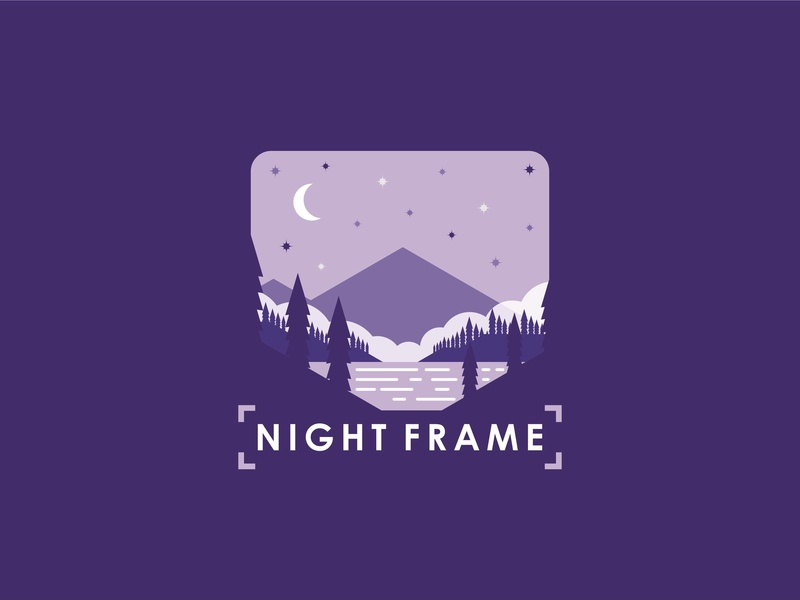 night frame logo flatnature star branding future shirt design shirtdesign flat logo explore discovering shirt discovery nature mountain illustration discover design camp adventure