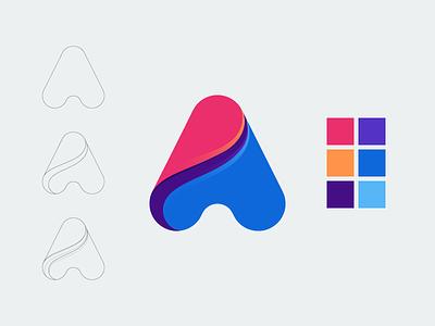 Letter A day1 challenge lines lettering letters alphabet logotype letter typography icon logo design concept logo design vector illustration art