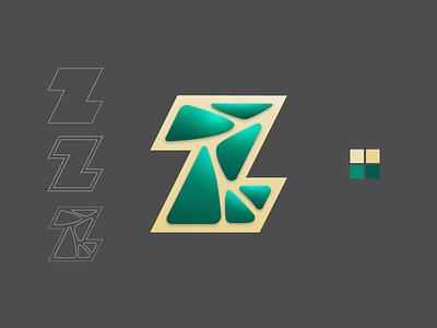 Letter Z stone gems rocks alphabet final letter day26 challenge typography icon concept branding logo design vector illustration art