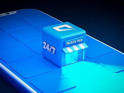 Mobily app phone design render cinema 4d cinema4d c4d 3d app mobily