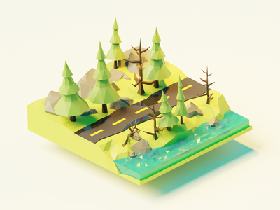 3D Forest in Blender forfun design polygonrunway forest 3d b3d blendercycles blender3d blender 3d blender